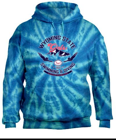 Tie-Dye Blue Pullover Hooded Sweatshirt